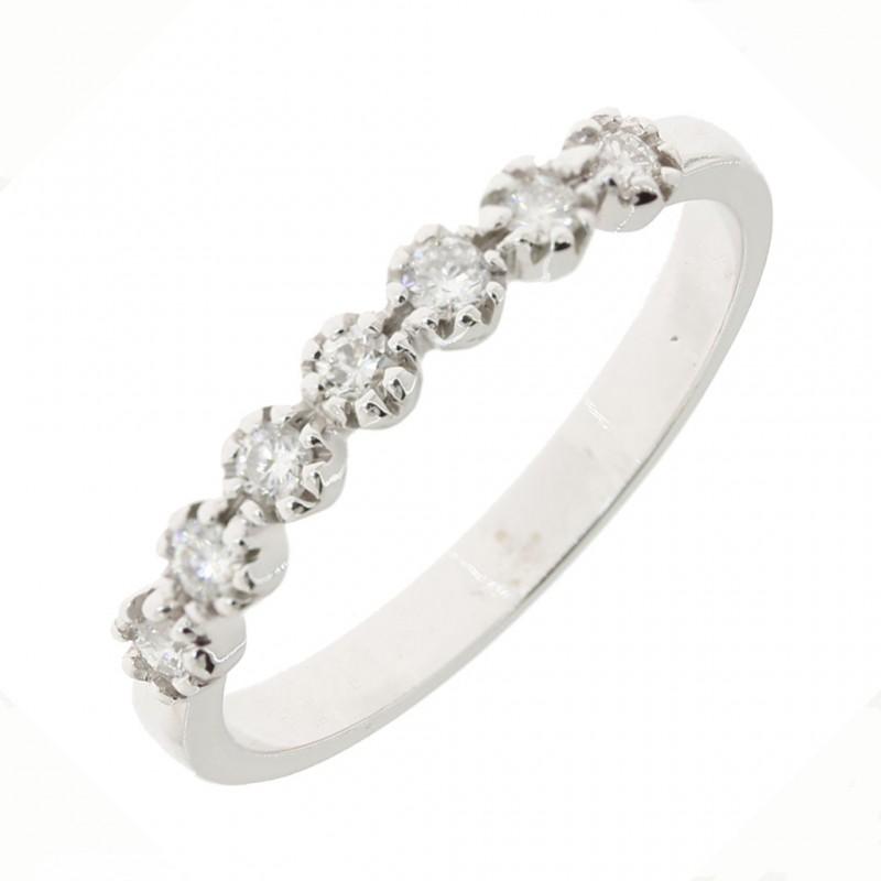 15dcf0a03175fa Anello veretta a 7 pietre in oro bianco 18kt con diamanti